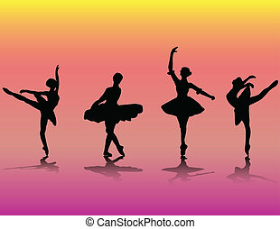 Set of ballet dancers silhouettes - vector