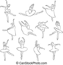Set of ballet dancers silhouettes