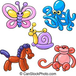 Set of balloon animals - horse, octopus, monkey, butterfly, snail