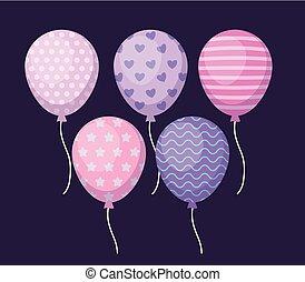 set of balloons helium icons
