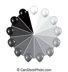 set of balloons in various shades of gray from white to black. vector illustration