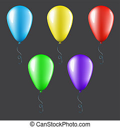 Set of balloons isolated