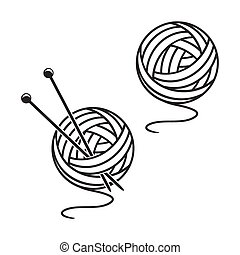 Set of balls of a yarn - Two balls of a yarn on a white...