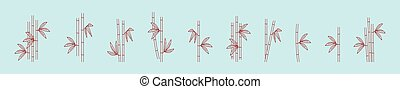set of bamboo cartoon icon design template with various models. vector illustration isolated on blue background