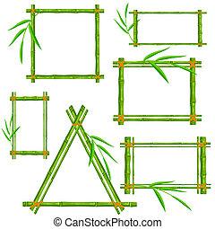 Set of bamboo frame on a white back
