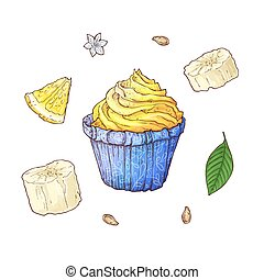 Set of banana cupcake. Hand drawing Vector illustration