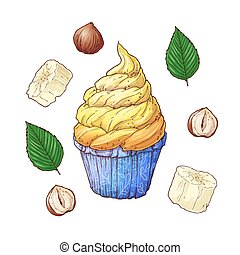 Set of banana nuts cupcake. Hand drawing. Vector illustration