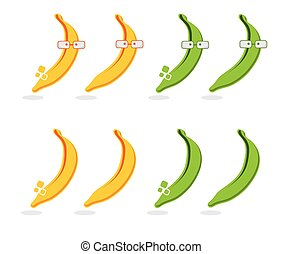 set of bananas and platanos with glasses