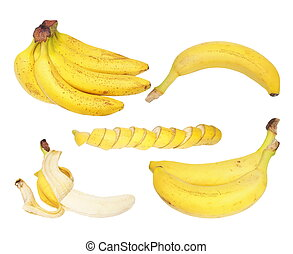 Set of bananas isolated on white