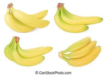 Set of Bananas. Realistic Vector illustration. Isolated on white background