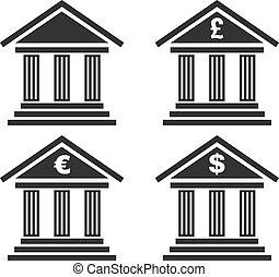Set of bank icon isolated on white