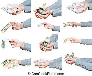set of banknotes in female hands