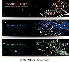 Set of banner design with floral elements