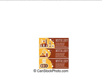 Set of banner for distillery industry with distillery objects. Vector illustration