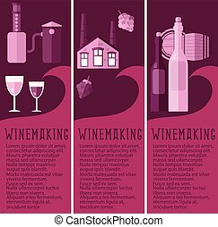 Set of banner for winemaking industry with winemaking...