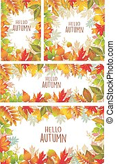 Set of banner of autumnal leaves