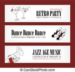 Set of banner templates with cocktails, vintage shoes, trumpet and place for text. Vector illustration in black, red and white colors for 1920s retro dance party or jazz music festival promotion.