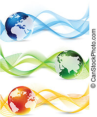 Set of banner with globes