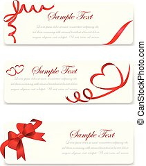 Set of banner with red gift bows with ribbons Vector