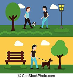 set of banner with scene the people in park playing and walking dog