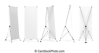 Set of banner x-stands display isolated on white background. 3d rendering image.