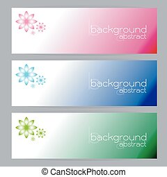 set of banners abstract headers three frame pink blue green