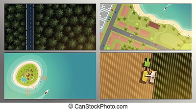 Set of banners. Aerial Top view of the forest and road, city, tropical island, field and harvesting.