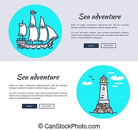 Set of Banners Dedicated to Sea Adventure