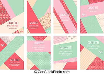Set of banners, flyers, placards with abstract geometric backgrounds