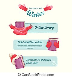Set of banners for a website of library, bookstore. Logo winter bookstore. Winter discounts and offers. Vector design of a banner.