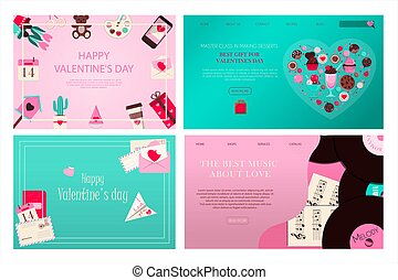 Set of banners for valentine s day. Romantic picture in pink, turquoise and red. A music store with records and songs for the holiday of all lovers. Vector illustration for the app, website and advertising banner.