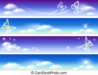 Set of banners for website with sky panorama, clouds, ...