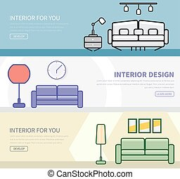set of banners in a flat style with interior design