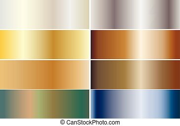 Set of banners made of precious metals. Gold, silver, bronze, platinum, steel. Vector illustration