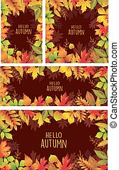 Set of banners of autumnal leaves