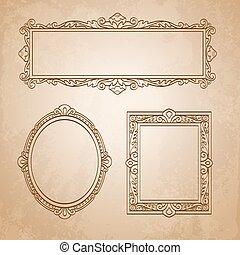 Vintage frames on old paper