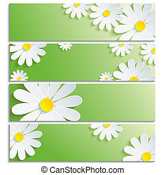 Set of banners with 3d flower white chamomile