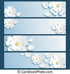 Set of banners with 3d stylized flowers sakura and leaves