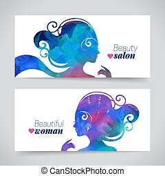 Set of banners with acrylic beautiful girl silhouettes