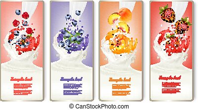 Set of banners with berries and fruit falling into milk and juice splashes. Vector.