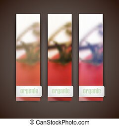 Set of banners with blurred background of bunch of tomatoes, vector design