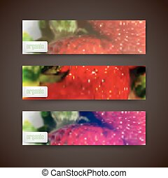 Set of banners with blurred background of ripe strawberries, vector design