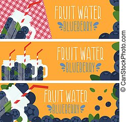 Set of banners with bright fruit water in mason jar with blueberries .Vector illustration
