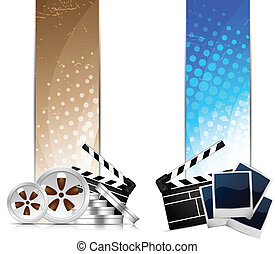Set of banners with cinema element