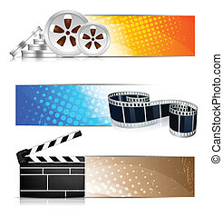 Set of banners with cinema element - Set of color banners ...