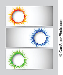 Set of banners with circles - Set of banners with burning...