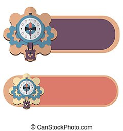 Set of banners with clocks. Vector illustration. EPS10