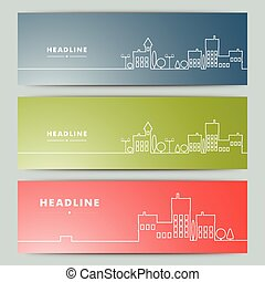Set of banners with contour urban landscape.