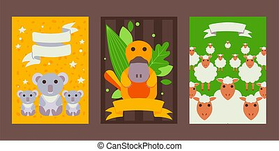 Set of banners with cute Australian animals in flat style, vector illustration