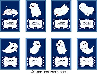 Set of banners with cute ghosts